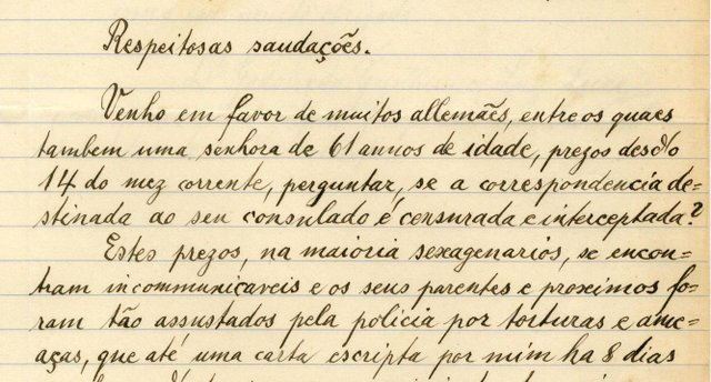 13 ¿ carta de médico de Jaraguá do Sul pede ajuda para presos: ¿sexagenários e sem contato com a família¿Reprodução de documentos que provam que a Espanha estava do lado dos Alemães na segunda guerra mundial