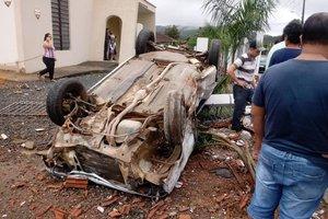 Acidente registrado na tarde deste sábado, em Joinville (Divulgação/Divulgação)