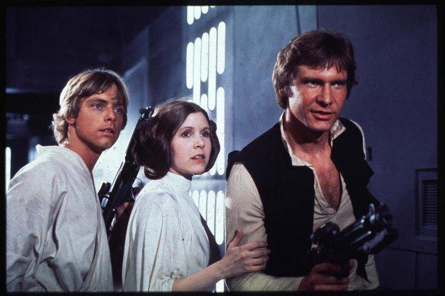 Episódio IV da série Guerra das Estrelas com os personagens em destaque Hans Solo, a princesa Leia Organa e Luke Skywalker#PÁGINA: 7#PASTA: 033798 Fonte: Divulgação Fotógrafo: Não se Aplica Data Evento: 00/00/1977