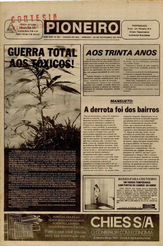 Capa do Pioneiro de 4 de novembro de 1978