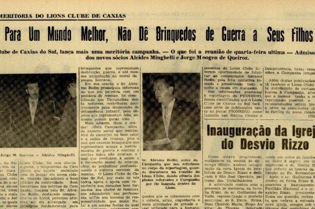 Em novembro de 1957, Lions Clube fazia campanha contra a cultura de violência em Caxias.