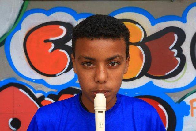 PORTO ALEGRE -RS BR - 28.11.2018Orquestra da Pequena Casa da Criança, bairro Partenon.Luca Peres, toca flauta.FOTÓGRAFO: TADEU VILANI AGÊNCIARBS Editoria DG