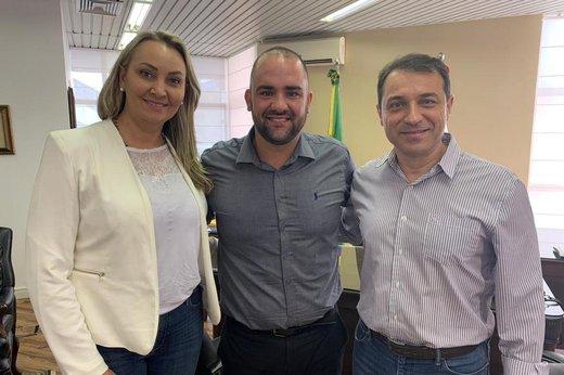 Daniela Reinehr, vice-governadora eleita, Diego Goulart e Carlos Moisés, governador eleito (Divulgação/Divulgação PSL)