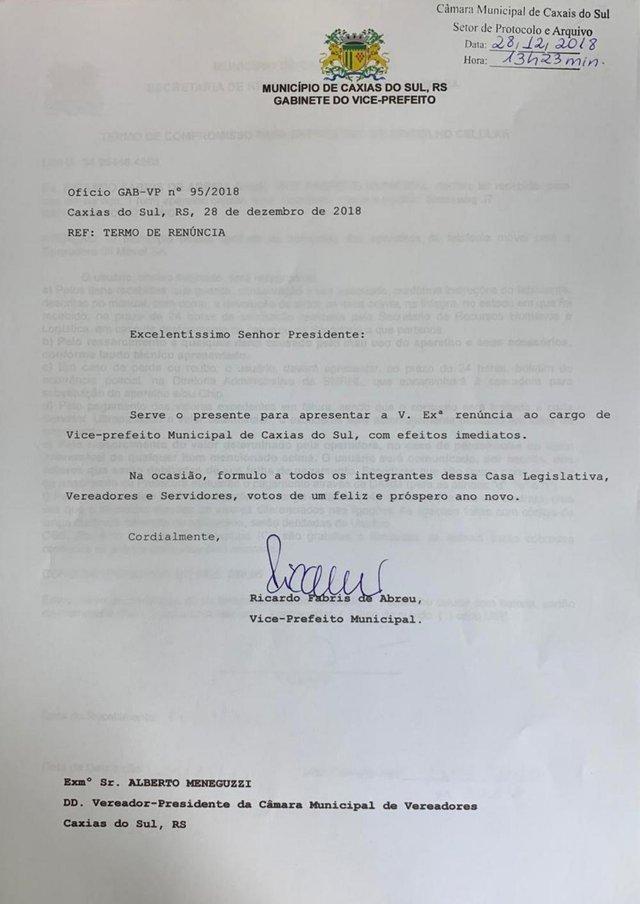 Termo de renúncia , vice-prefeito , Ricardo Fabris de Abreu , caxias do sul