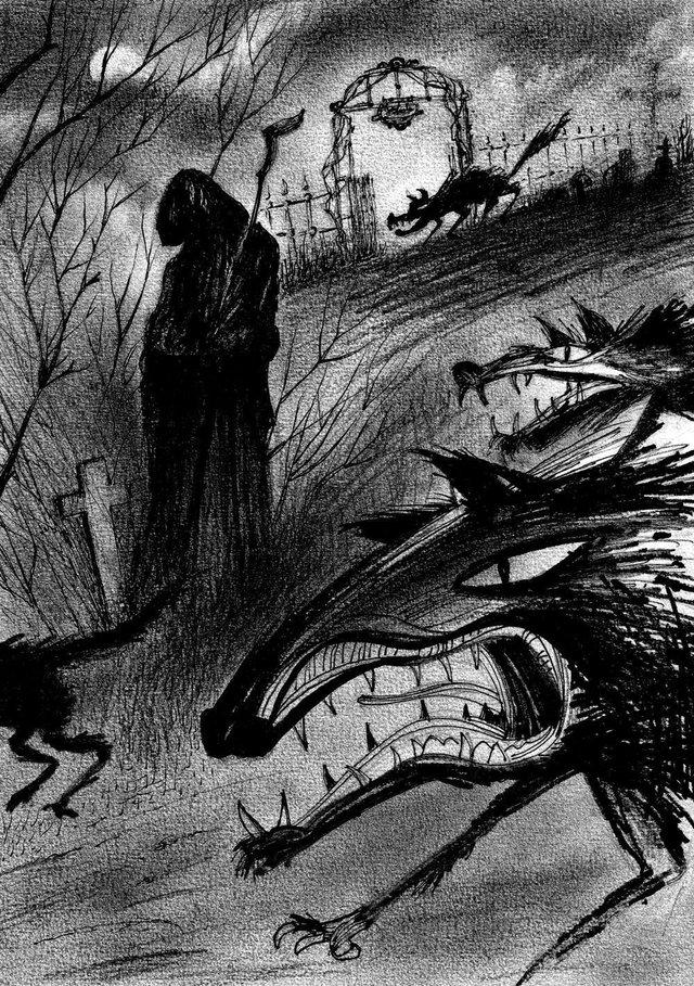 Ilustração de Ernani Carraro que estará no livro O Hedeiro da Sepultura.
