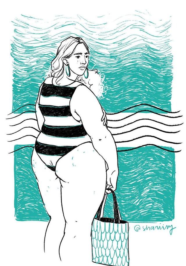 Série Mulheres Veranis, da artista Sharisy Pezzi, propõe a quebra de paradigmas estéticos na praia