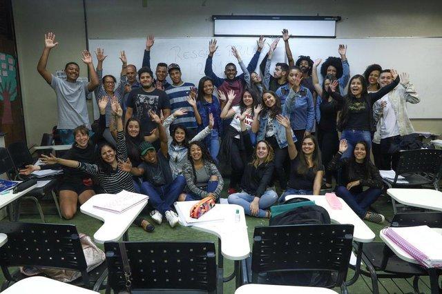 PORTO ALEGRE, RS, BRASIL - 21/03/2019 - Alunos do cursinho pré-vestibular Resgate Popular, que funciona na Fabico.Indexador: ISADORA NEUMANN