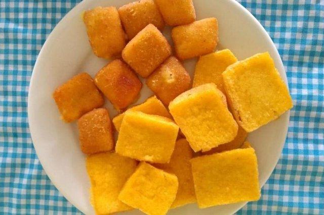 Queijo e polenta fritos. Receitas de Miriam Conte, cozinheira da festa Magnar di Polenta, em Flores da Cunha, na Serra gaúcha.