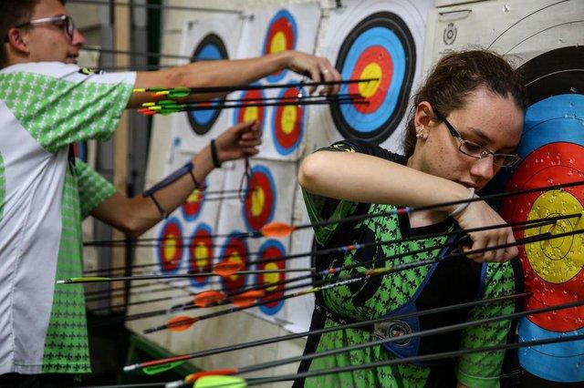 CACHOEIRINHA, RS, BRASIL - 13/06/2019Alunos da rede municipal tem aulas de arco e flecha
