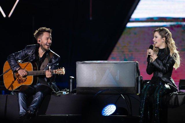 Sandy e Junior toca em São Paulo, no Allianz Park, fim de agosto. turnê Nossa História