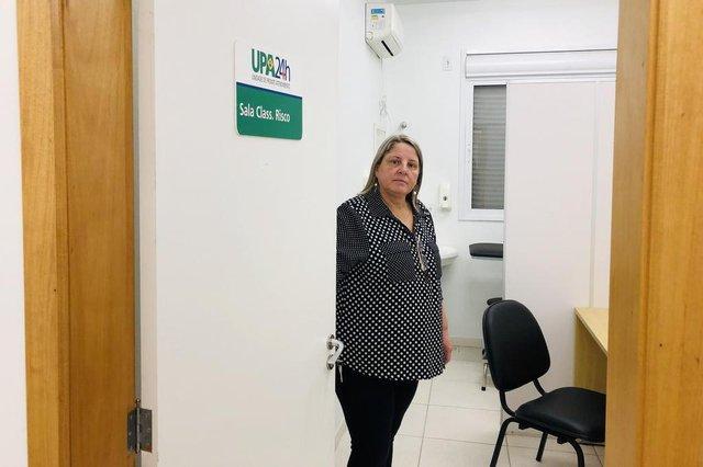 UPA de Alvorada, pronta desde 2015, está fechada por falta de recursos para manutenção mensal.Na foto, secretária de Saúde de Alvorada, Neusa Abruzzi.
