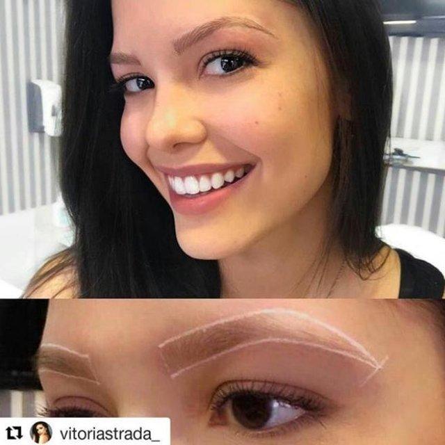 O antes: micropigmentação de sobrancelhas: a técnica já caiu na graça de celebridades como a gaúcha Vitória Strada que, há dois anos, só confia na profissional Ariane Nunes, de Porto Alegre, para fazer o seu fio a fio.