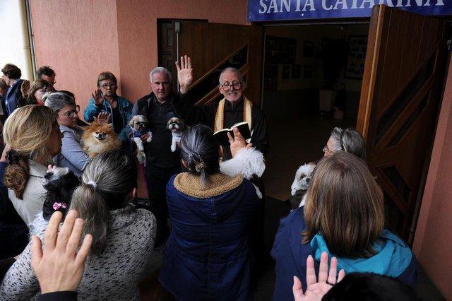 CAXIAS DO SUL, RS, BRASIL, 04/10/2019 - Cerca de 15 cachorros receberam a Bênção dos Animais concedida pelo Frei Celso Brodignon. A cerimônia ocorreu na paróquia Santa Catarina. (Marcelo Casagrande/Agência RBS)