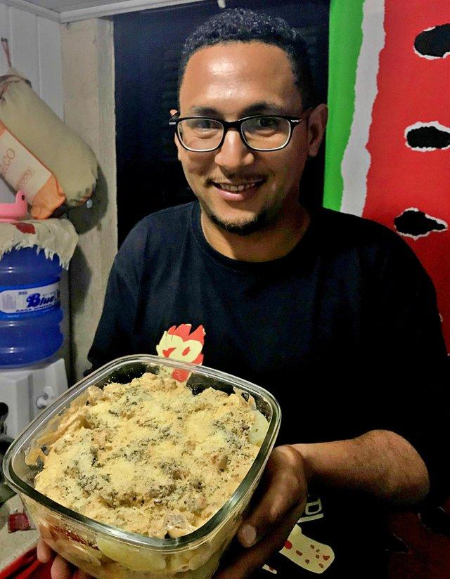 Receita do Leitor, batata recheada com carne ao molho branco, Dejair Chaves, Porto Alegre, receita