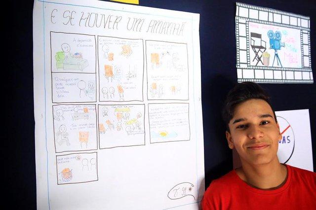PORTO ALEGRE, RS, BRASIL,20/11/2019- Alunos de escola do bairro Sarandi vão exibir curta-metragens produzidos por eles aos moradores da comunidade. Gabriel Camargo da Silva, 15 anos(FOTOGRAFO: TADEU VILANI / AGENCIA RBS)