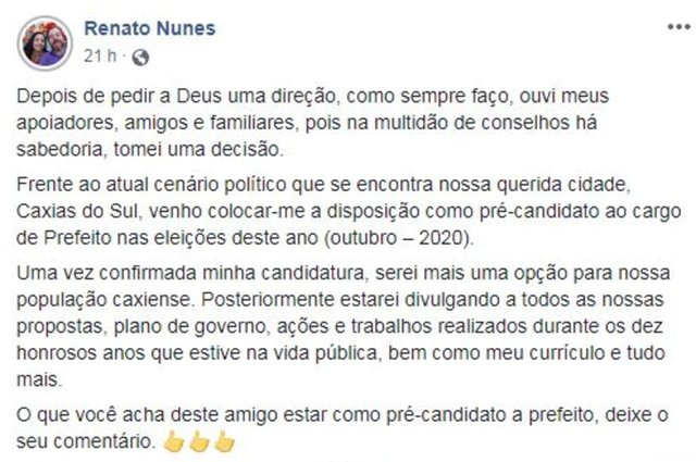 Ex-vereador Renato Nunes (Partido Liberal, antigo PR) anuncia que está se colocando como pré-candidato a prefeito de Caxias do Sul
