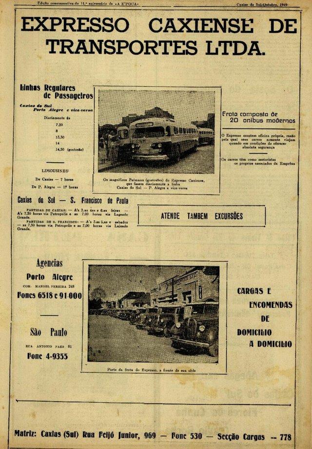 Ônibus GM Coach 1948, conhecido como Gostosão, um dos pioneiros do transporte intermunicipal entre Caxias do Sul e Porto Alegre do Expresso Caxiense. Na foto, anúnico antigo destacando o ônibus.<!-- NICAID(14444117) -->