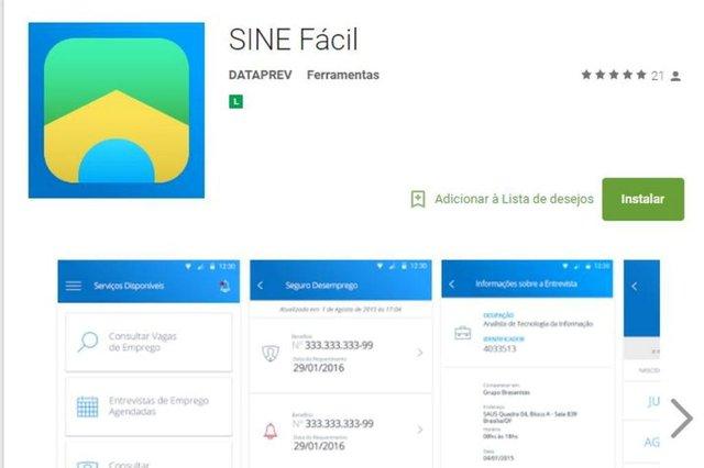 Reprodução do aplicativo Sine Fácil, lançado neste dia 23 pelo Ministério do Trabalho