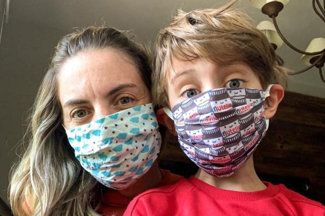 Vanessa Martini e Theo, seis anos