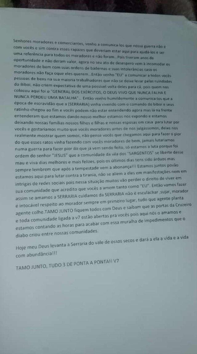 PORTO ALEGRE, RS, BRASIL - Facção envia carta a moradores da Vila dos Sargentos, na Zona Sul, para dizer que irá dominar área.<!-- NICAID(14534457) -->