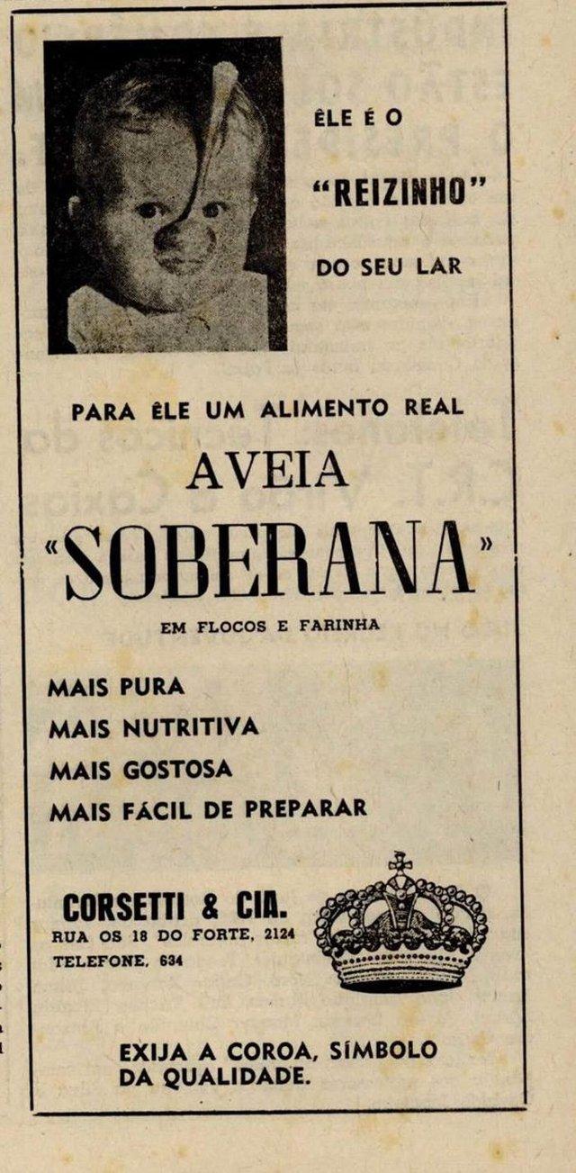 Anúncio da Aveia Soberana, produzida pela empresa Corsetti & Cia (Corsetti Alimentos). Publicado no jornal Caxias Magazine, nos anos 1960.<!-- NICAID(14608617) -->
