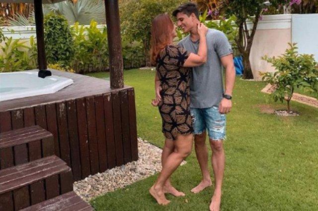 Nadine Gonçalves e o modelo Tiago Ramos