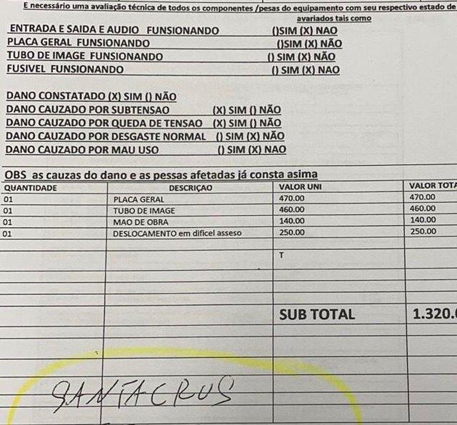Nota de orçamento fraudado