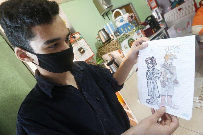 Páginas dos contos são ilustradas pelo próprio autor