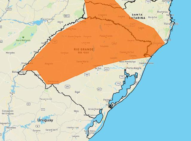 Instituto Nacional de Meteorologia (Inmet) emitiu alerta de tempestade para as regiões que correspondem à área destacada em laranja no mapa