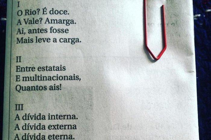 Poema de Drummond sobre o Rio Doce, que circula em redes