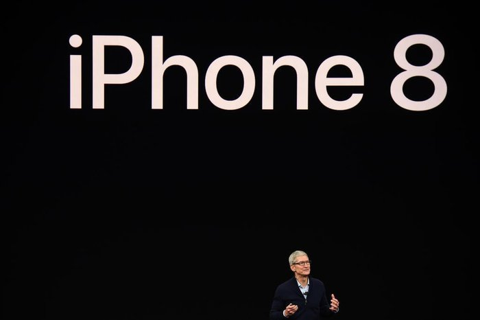 Apple CEO Tim Cook speaks about the new iPhone 8 during a media event at Apples new headquarters in Cupertino, California on September 12, 2017.  / AFP PHOTO / Josh Edelson