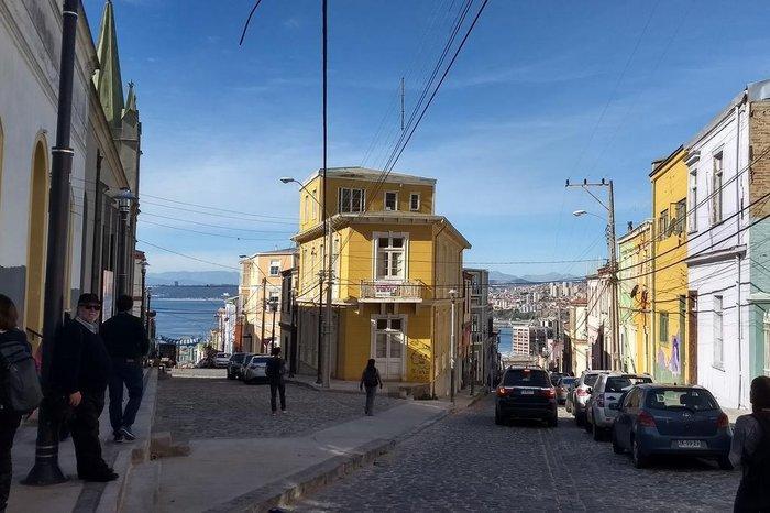 Sete esquinas, onde sete ruas se encontram, no Cerro Concepción, em Valparaíso, no Chile.