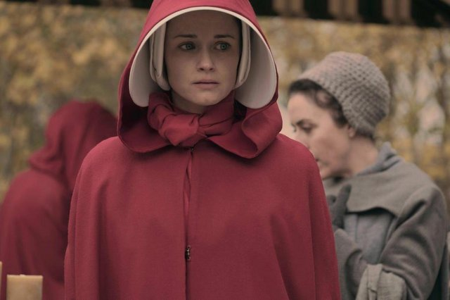 The Handmaids Tale -- Faithful Episode 105 -- Serena Joy makes Offred a surprising proposition. Offred remembers the unconventional beginnings of her relationship with her husband. Ofglen (Alexis Bledel), shown. (Photo by: George Kraychyk/Hulu)