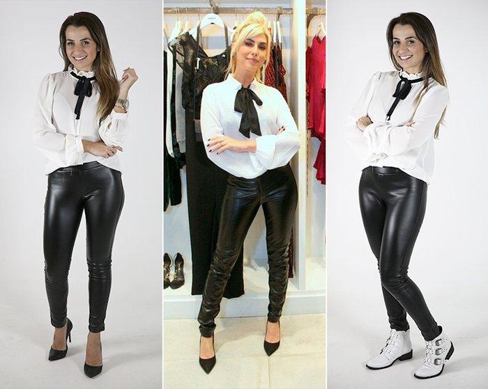 99979788884 Look 1  calça preta + camisa branca com laço no pescoço + scarpin preto
