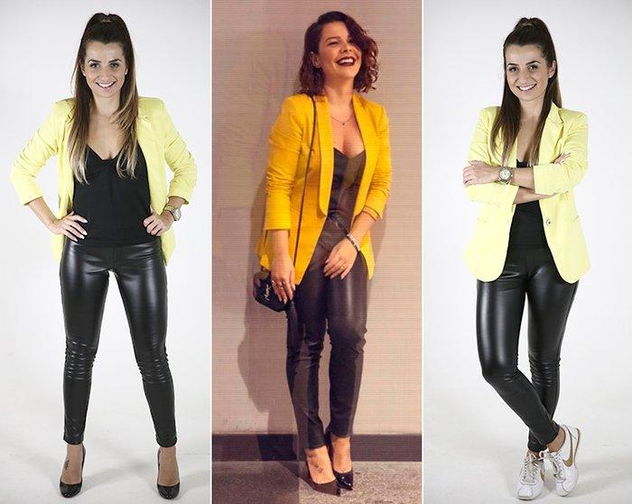 ae08876c5b Look 5  calça preta + blusa preta + blazer amarelo + scarpin de verniz
